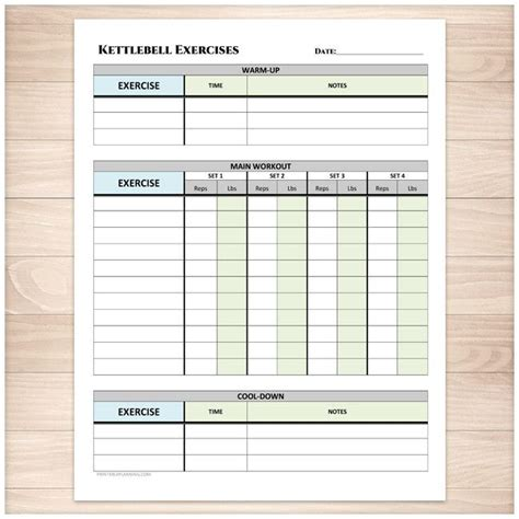Kettlebell Exercises Sheet with Warm-up and Cool-down