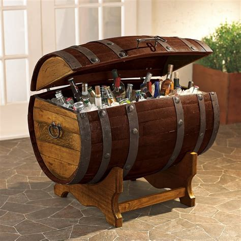 Reclaimed Tequilla Barrel Ice Chest and Stand   Fancy