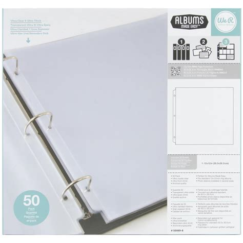 12x12 Album Refills Full Page 50 Pack We R Memory Keepers