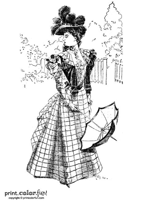Woman in a vintage Victorian dress coloring page - Print