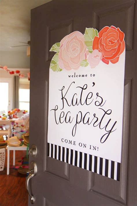 Printable tea party welcome sign Floral Black and white