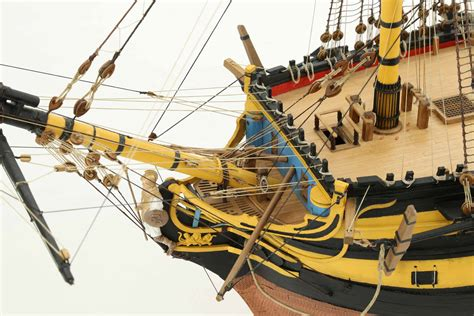 Close-up photos of ship model of HMS Agamemnon of 1781