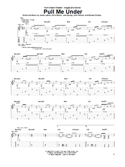 Pull Me Under by Dream Theater - Guitar Tab - Guitar