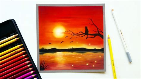 Red sunset drawing with pastel pencils | Leontine van