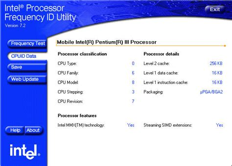 CPUID Data in the Intel® Processor Frequency ID Utility