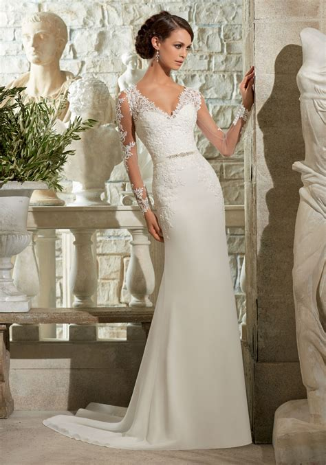 Lace Appliques on Chiffon Georgette Wedding Dress   Style