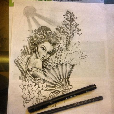 Sketch up for a japanese geisha half sleeve im about to
