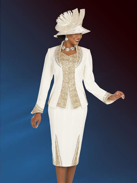 Ben Marc 48200 Ladies Gold Embellished Church Suit: French