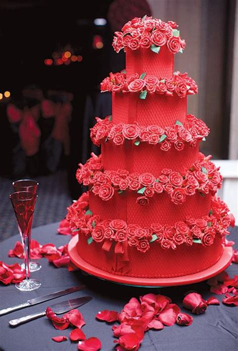 Red Velvet Tiered Wedding Cake with Sugar Roses – Candy