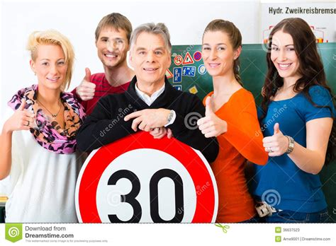Driving Instructor With His Class Stock Photos - Image