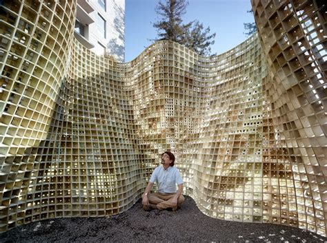 emerging objects builds undulating bloom pavilion with 3D