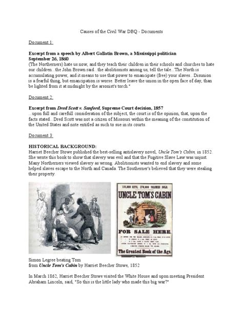 Civil War DBQ   Southern United States   Uncle Tom's Cabin