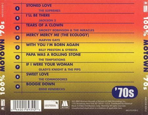 100% Motown '70s - Various Artists   Songs, Reviews
