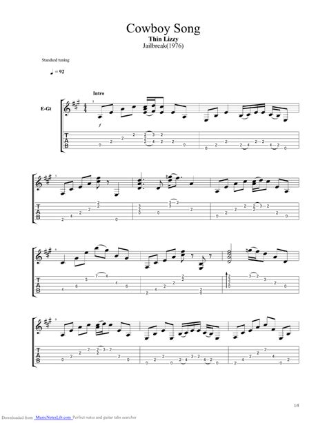 Cowboy Song guitar pro tab by Thin Lizzy @ musicnoteslib