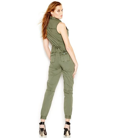 Lyst - Guess Sleeveless Cargo Jumpsuit in Green