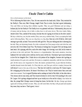 Uncle Tom's Cabin - Book Report and summary - Skolehjælpen